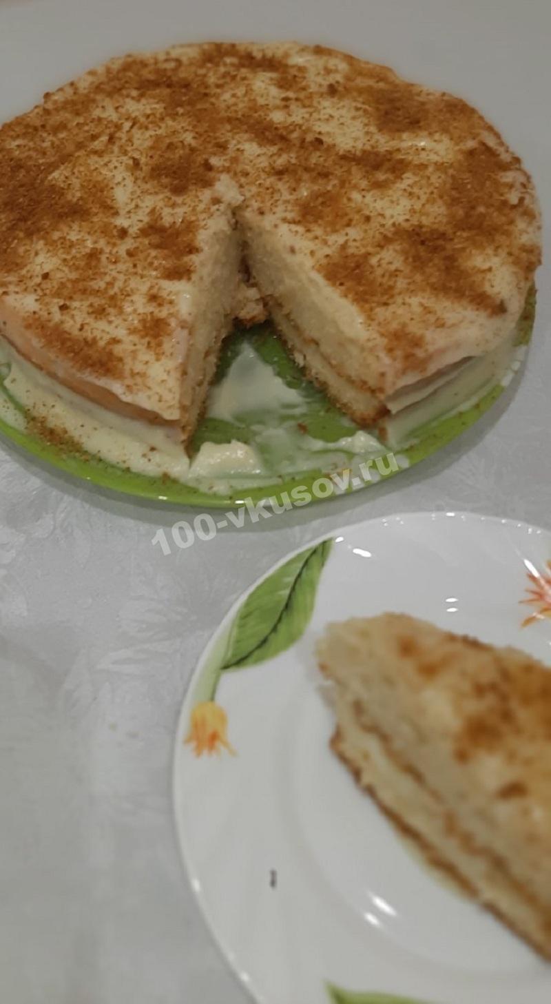 Готовый бисквитный торт с заварным кремом