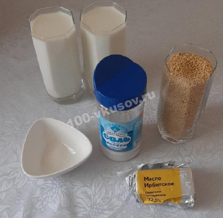 Ингредиенты для молочной пшенной каши