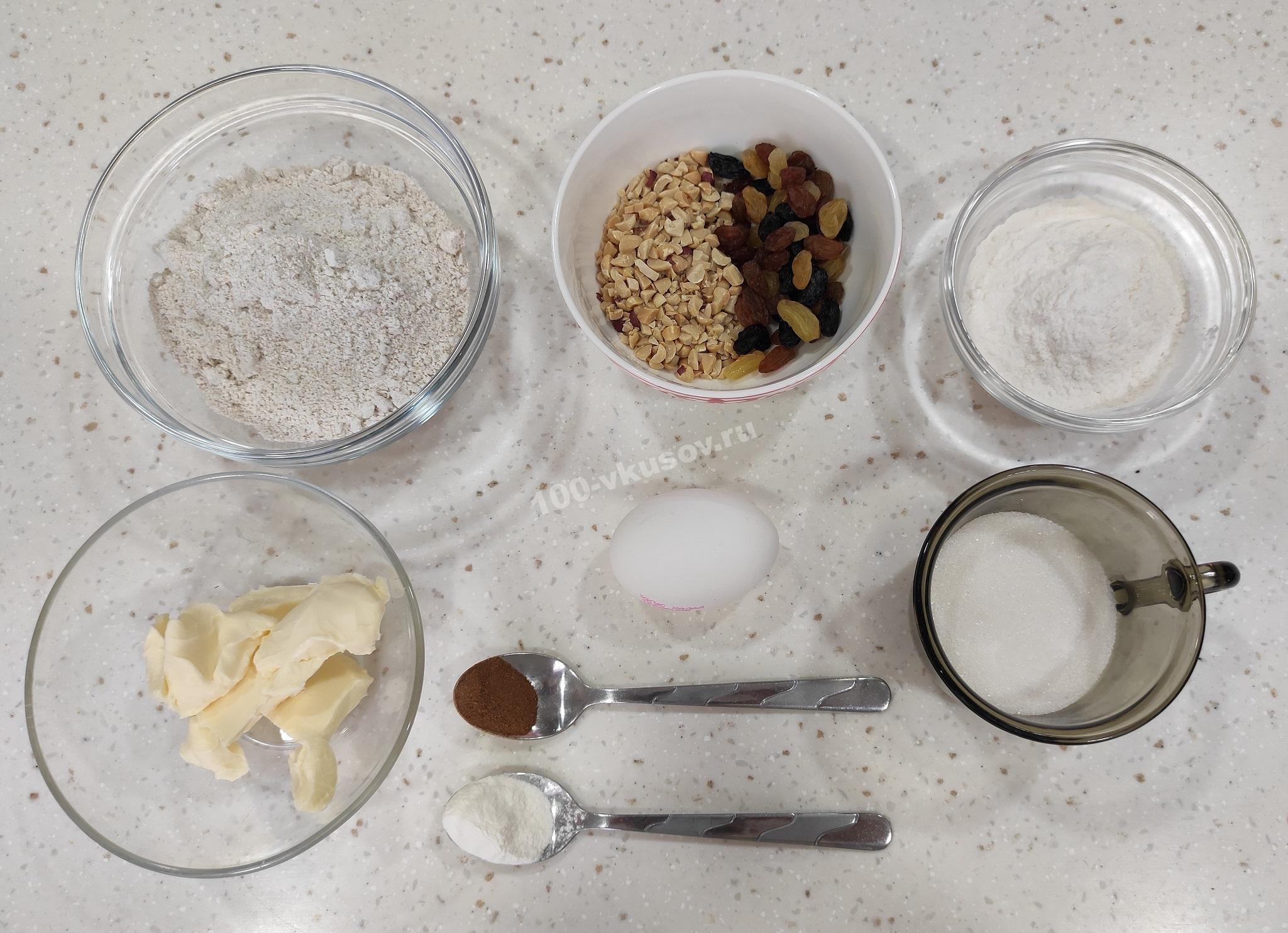 Ингредиенты для овсяного печенья с изюмом