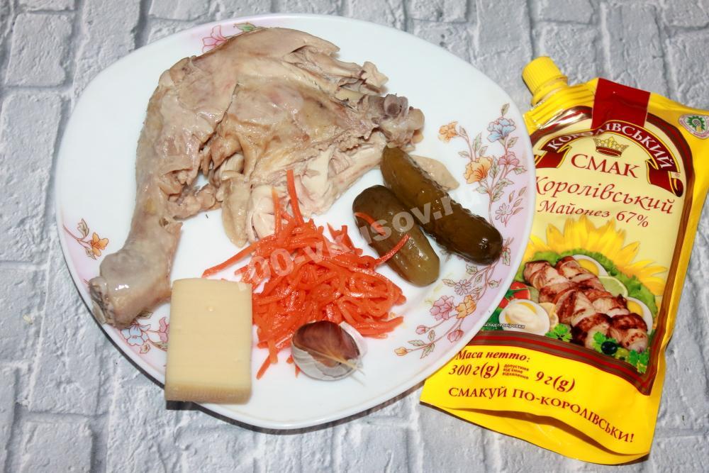 Ингредиенты для салата «Лисичка»