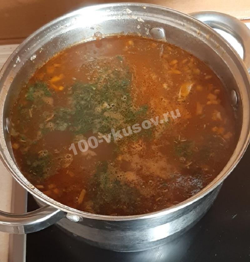 Суп Харчо в кастрюле