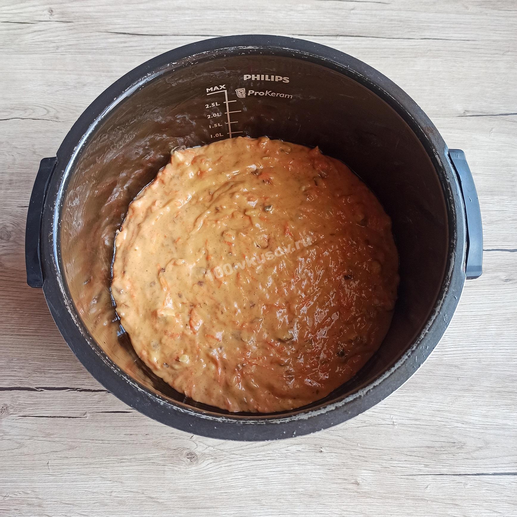 Тесто для морковного пирога в мультиварке