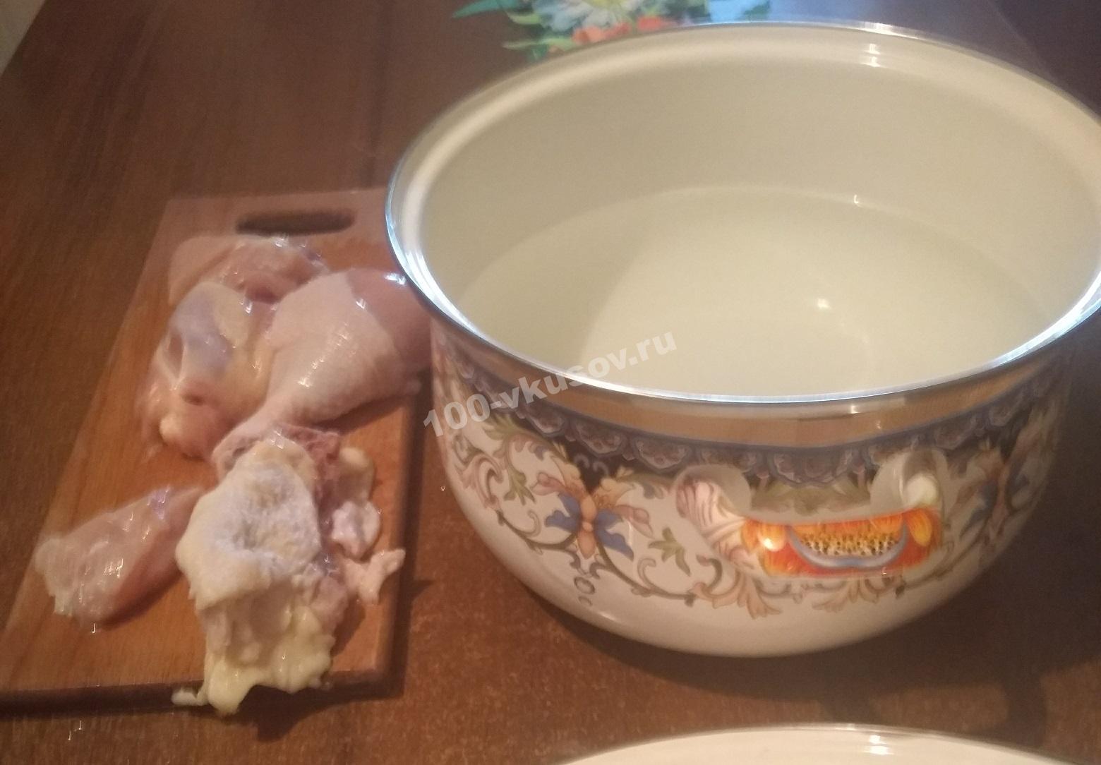 Куриное мясо и кастрюля с водой