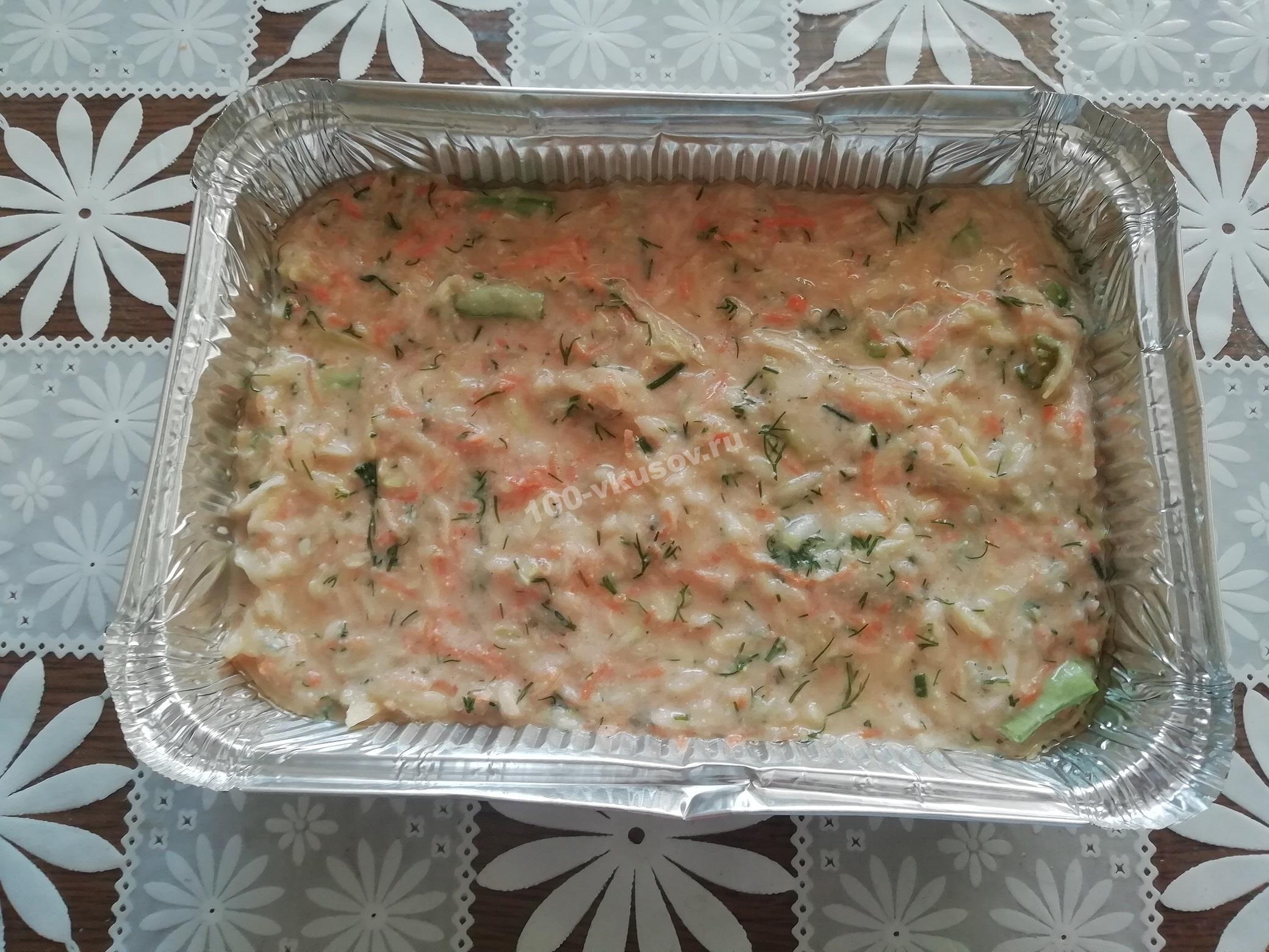 Овощное тесто в форме для запекания