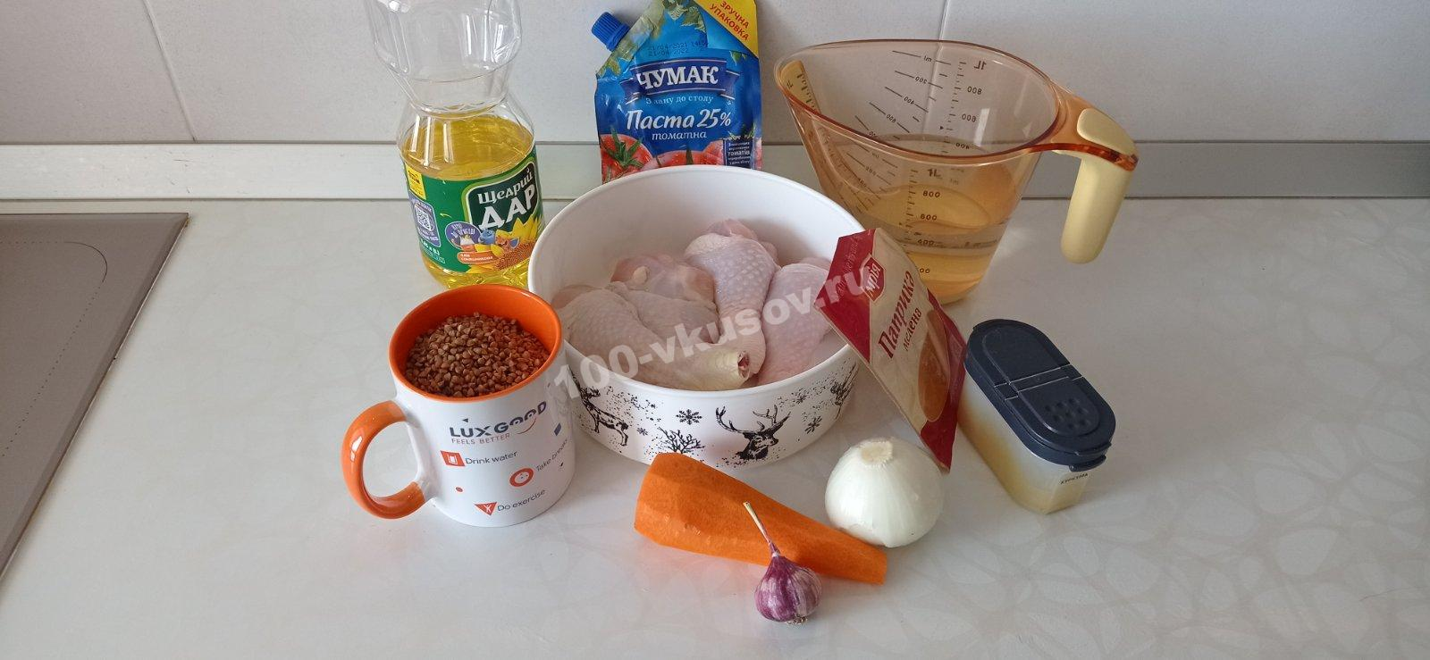 Продукты для гречки с курицей в духовке