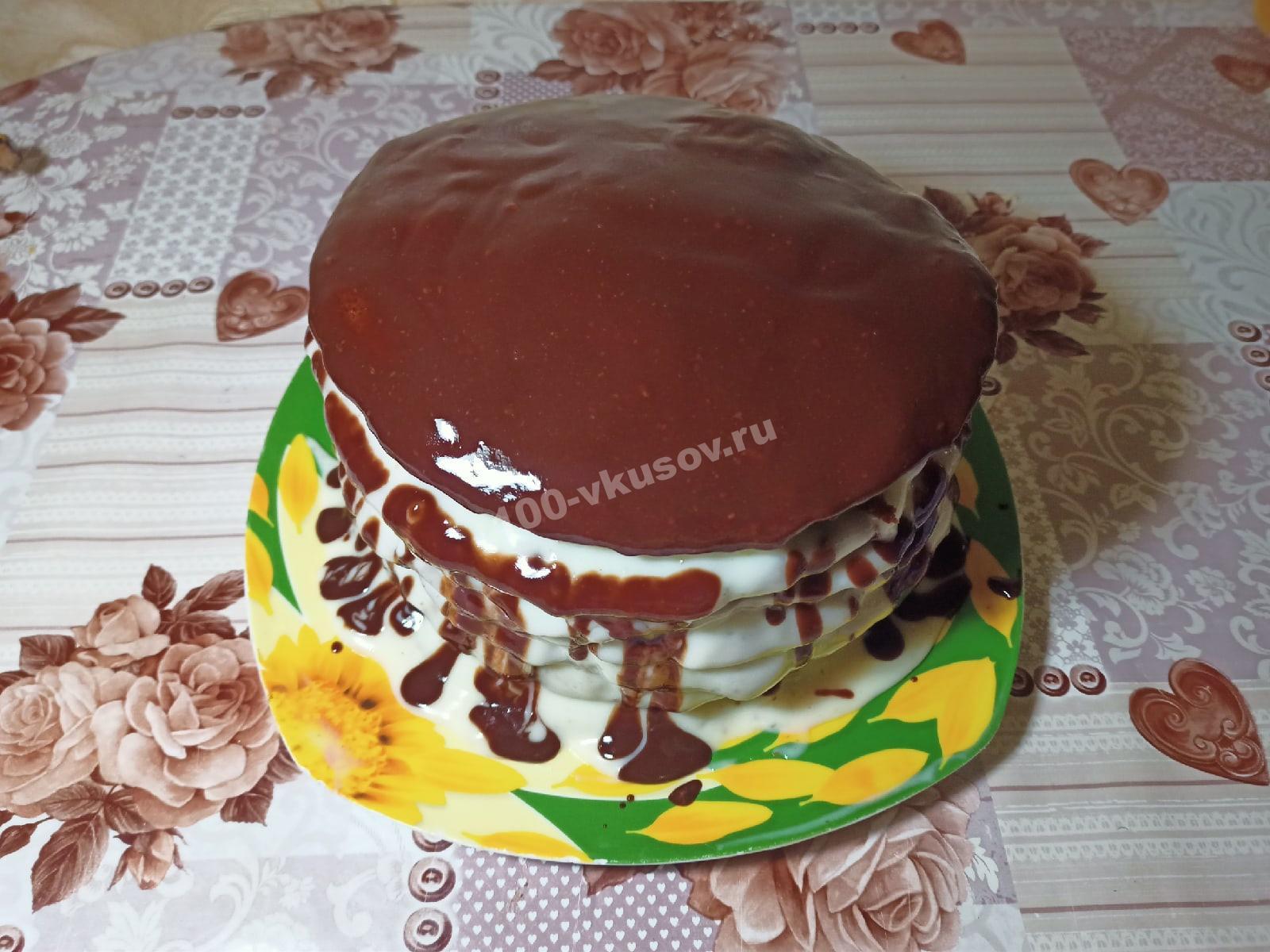 Торт Спартак в шоколадной глазури