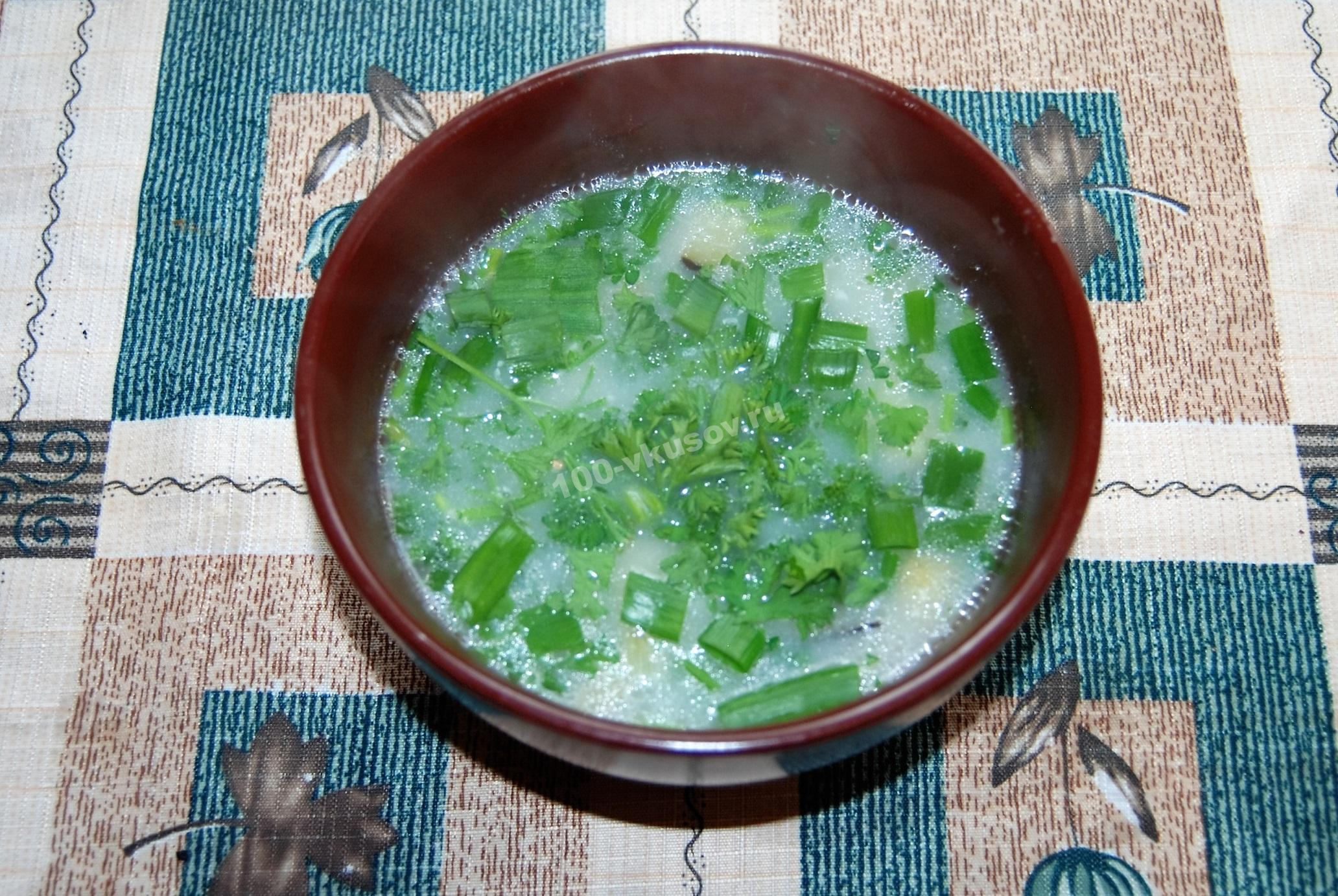 Крем-суп с курицей и плавленым сыром