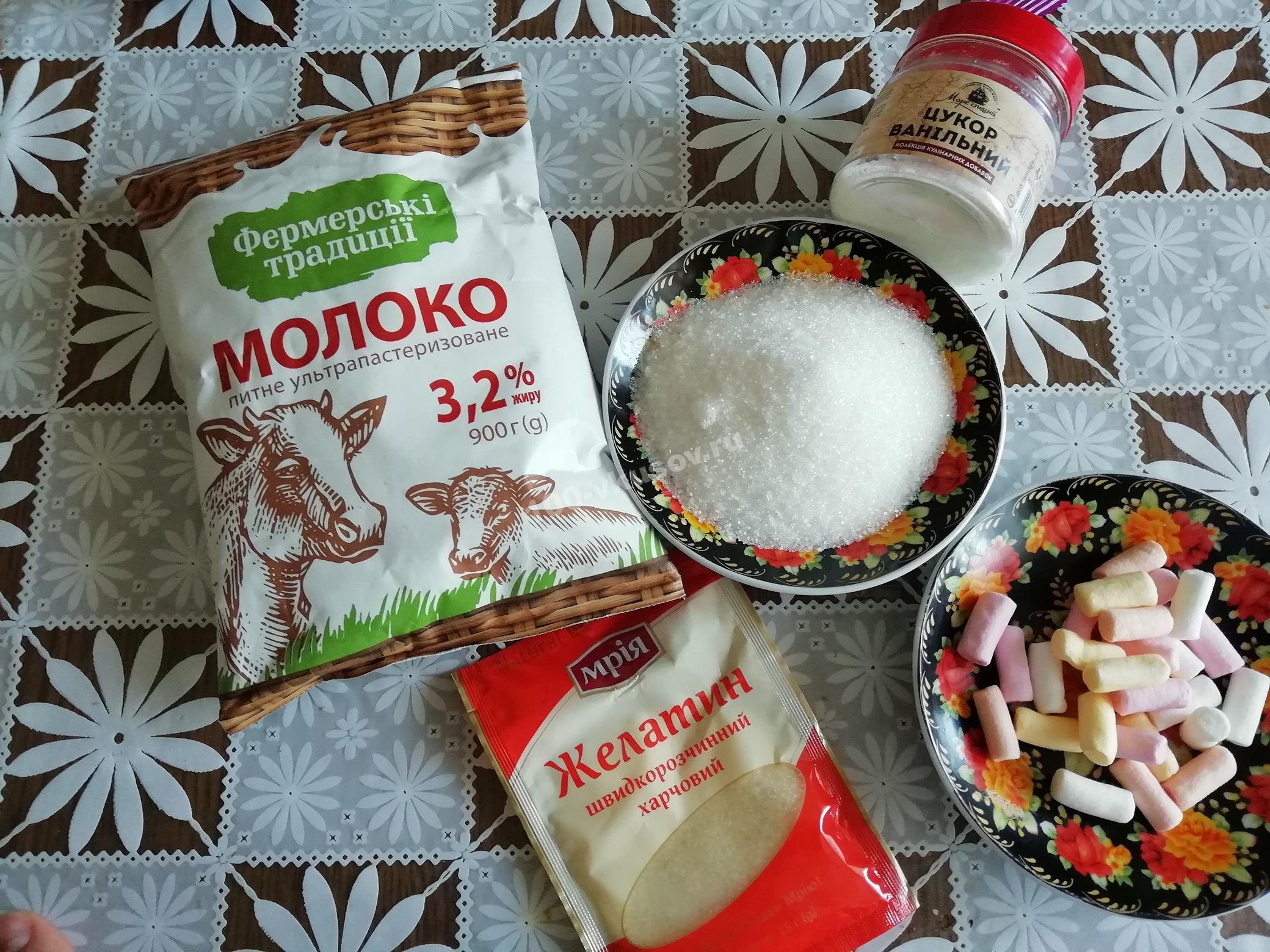 Продукты для молочного желе