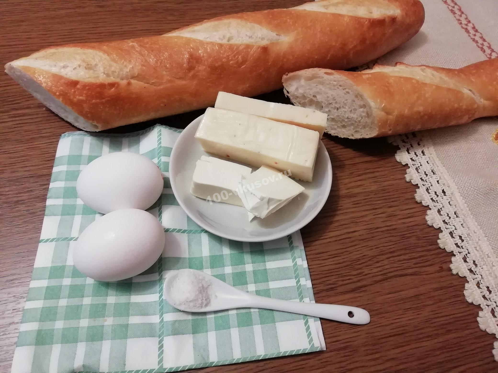 Продукты для жареного яйце хлеба
