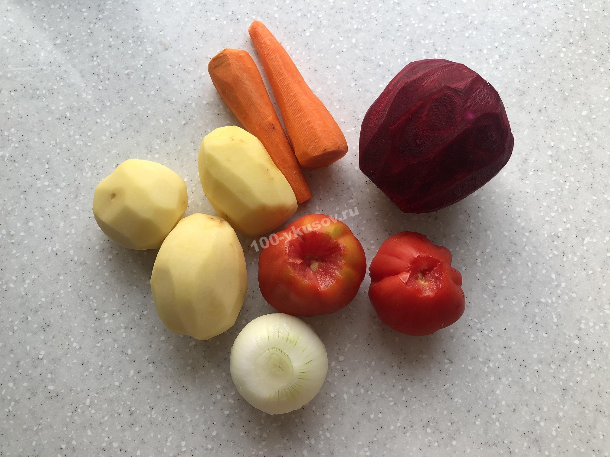 Картофель, лук, морковь, свекла и помидоры