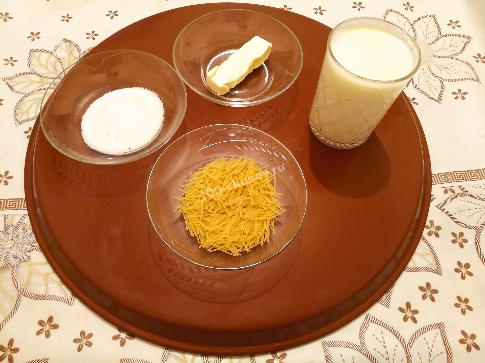 Продукты для молочного супа