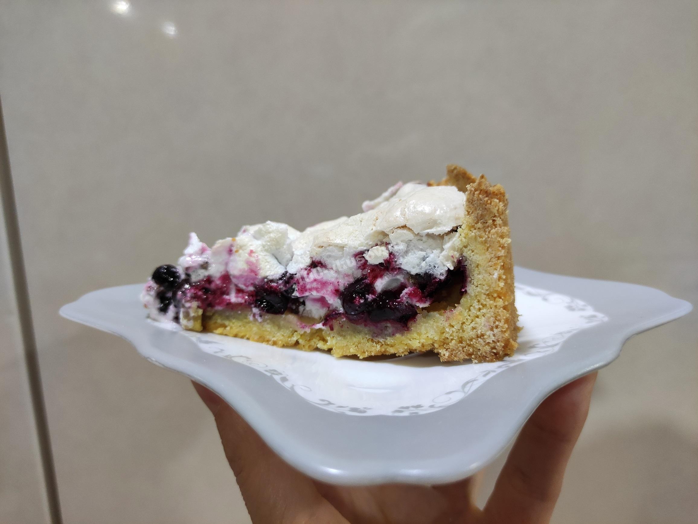 Пирог с замороженной смородиной в разрезе