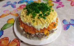 Салат мимоза с рисом и консервой