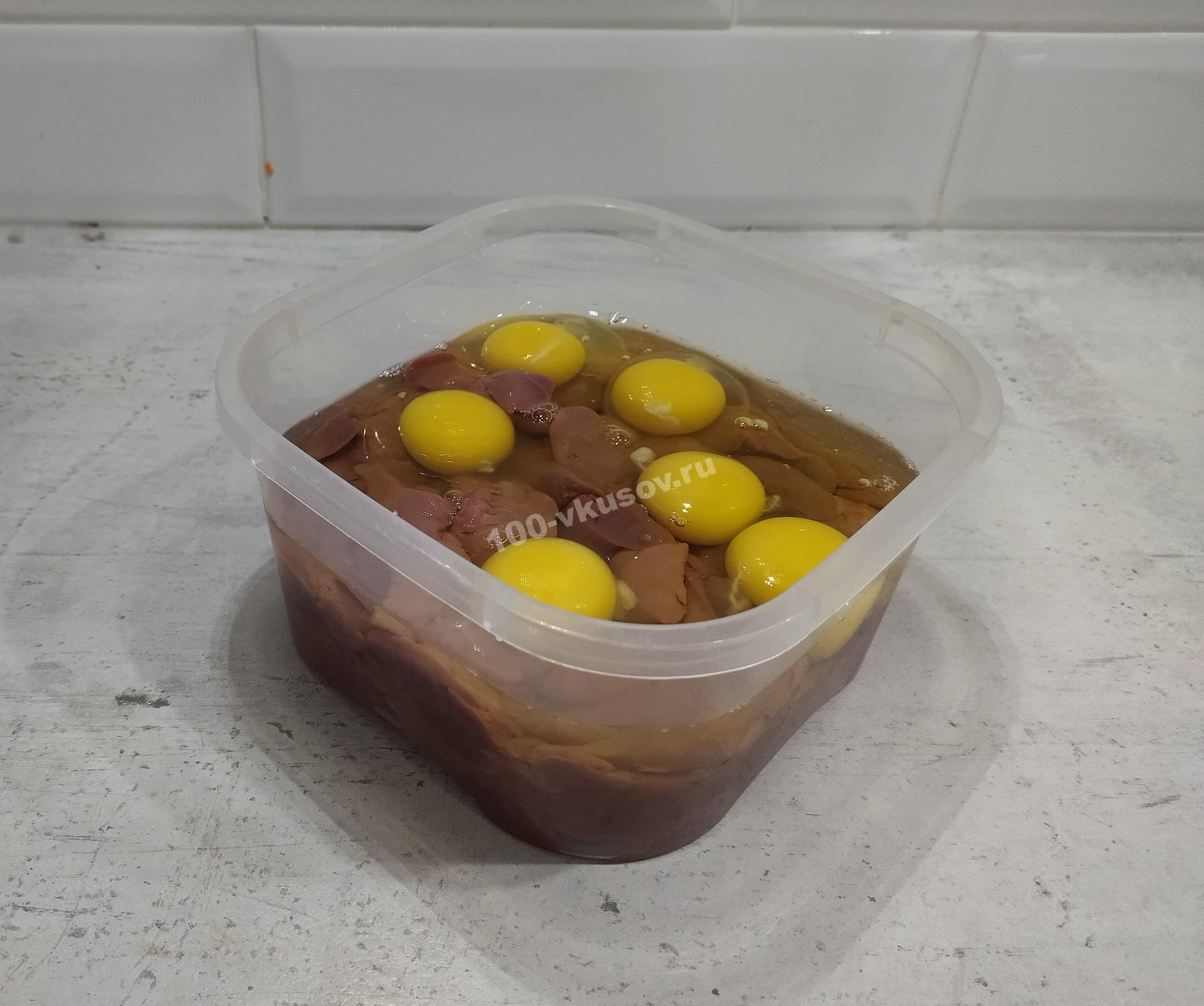 Куриная печень и яйца